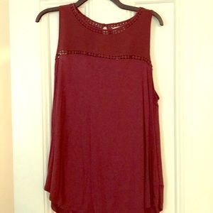 NWT Burgundy tank with cool pattern